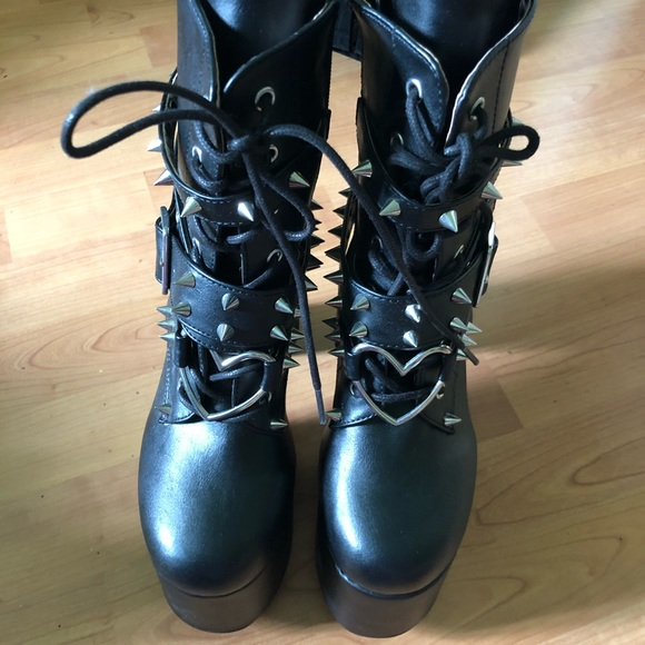 Demonia Shoes Brand New Demonia Heart Buckle Boots Never Worn Poshmark